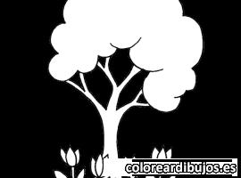 Árbol y flores